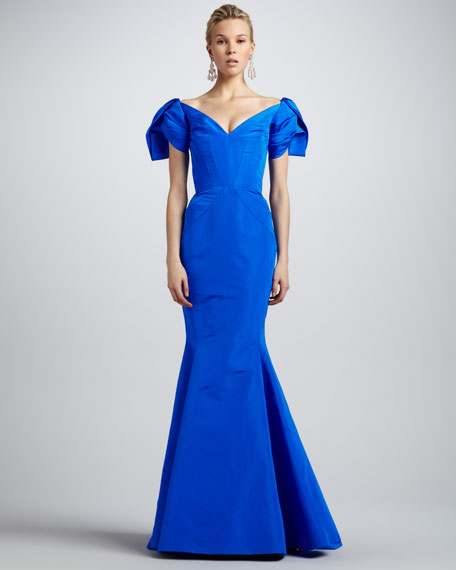 Off-the-Shoulder Puff-Sleeve Gown, Pacific