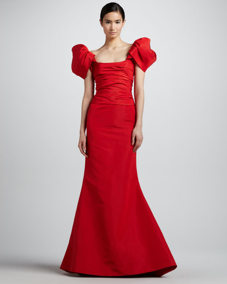 Off-the-Shoulder Faille Gown, Carnation