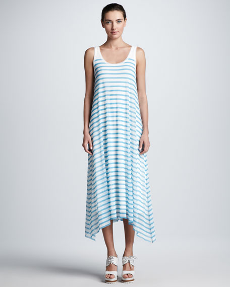 Striped Tulle A-Line Tank Maxi Dress, Pool/White