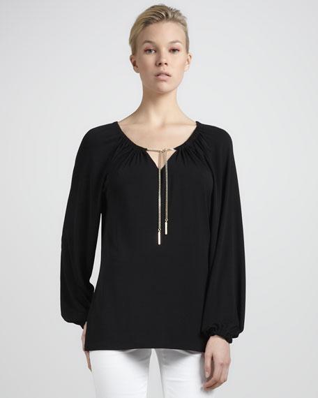 Chain-Tie Jersey Top