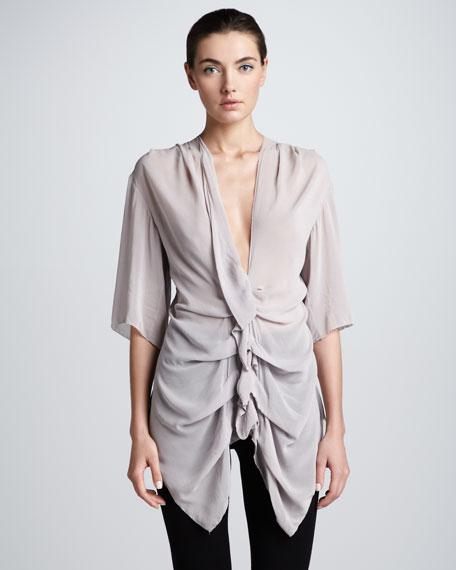 Georgette Ruffle-Front Shirt, Quartz