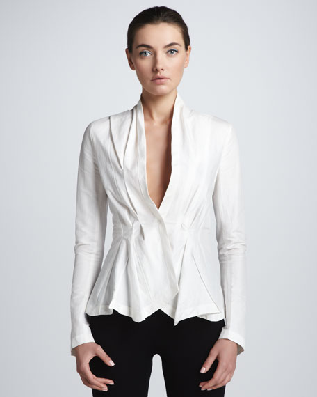 Twill Stretch Tux Shirt, Ivory