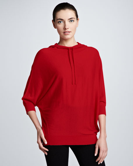 Dolman-Sleeve Cashmere Hoodie, Lipstick Red