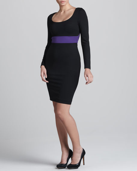 Long-Sleeve Scoop-Neck Dress