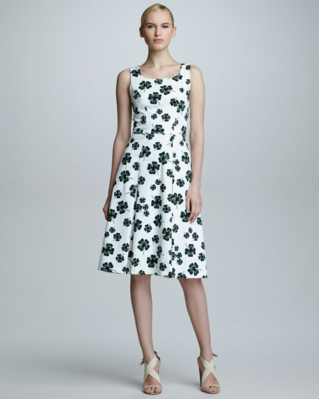 Clover-Print Scoop-Neck Dress, White
