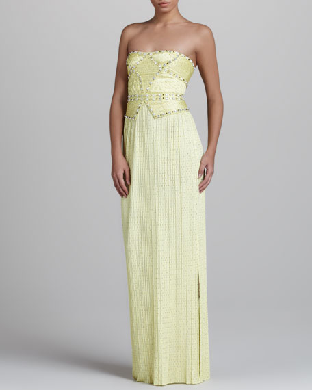 Studded Strapless Gown