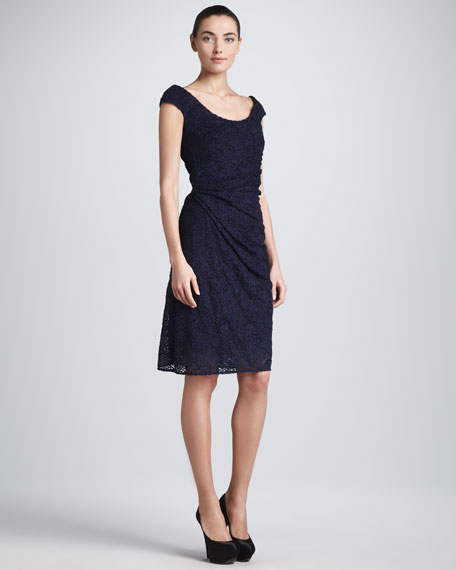 Ruched Cap-Sleeve Lace Dress, Navy