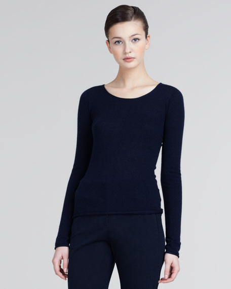 Long-Sleeve Cashmere Sweater, Midnight