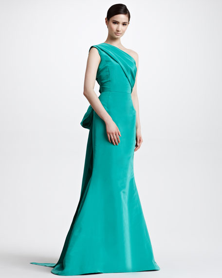One-Shoulder Trumpet Gown, Clover