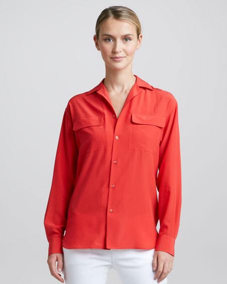 Long-Sleeve Silk Pocket Blouse