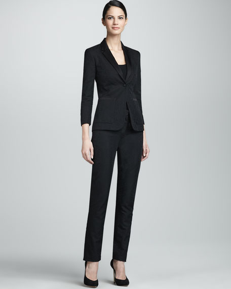 Floral Jacquard Flat-Front Pants, Black