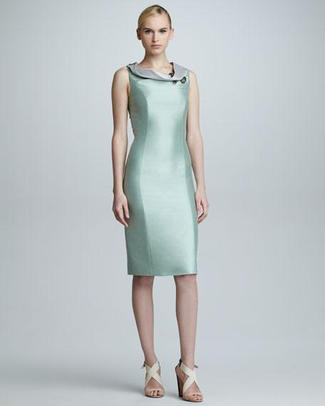 Contrast Rolled-Collar Sheath Dress, Seafoam