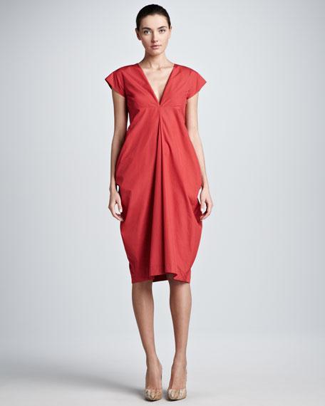 Deep-V Cap-Sleeve Dress