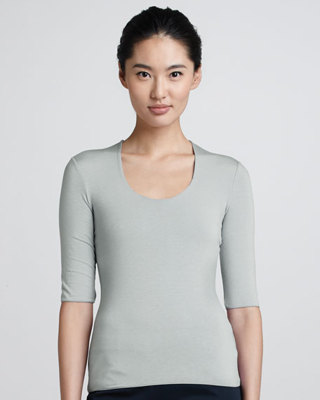Scoop-Neck Half-Sleeve Tee, Cloud
