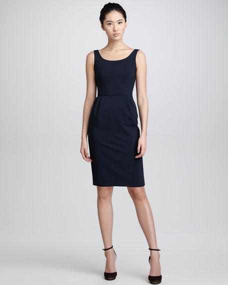 A16 Wool Crepe Tank Dress, Midnight