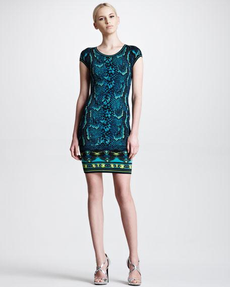 Short-Sleeve Snake-Print Sheath Dress, Turquoise