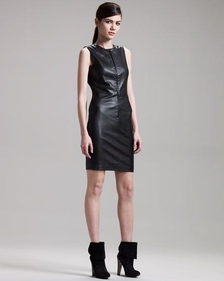 Front-Zip Leather Dress
