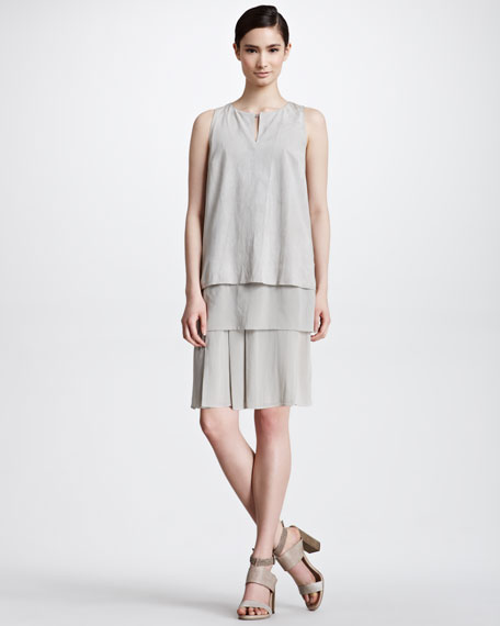 Layered Suede & Silk Dress, Rope