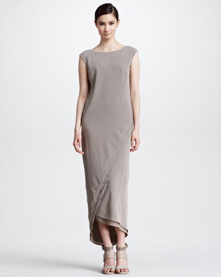 Long Silk Envelope Dress, Taupe