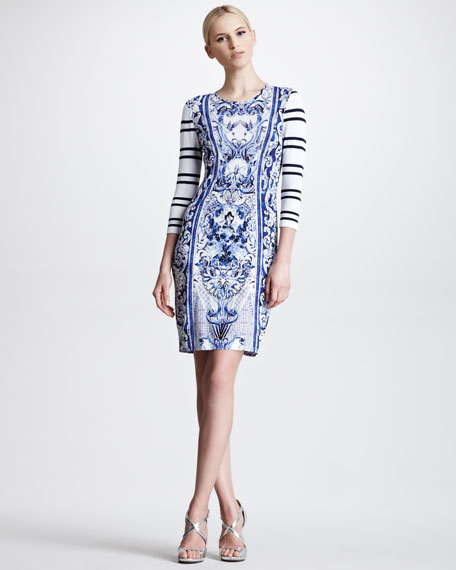 Leeds-Print Striped Sleeve Dress, Blue/White