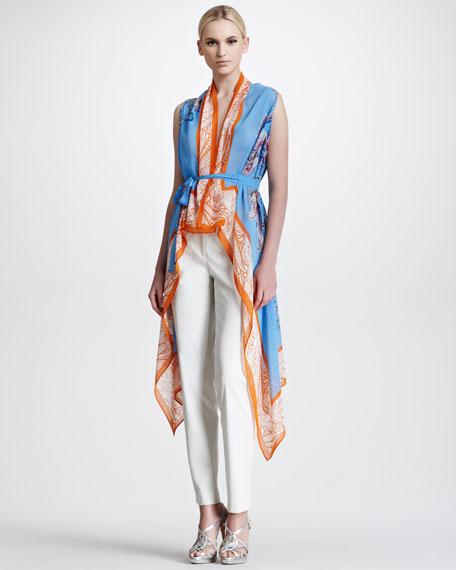 Sheer Printed Silk Gilet, Blue