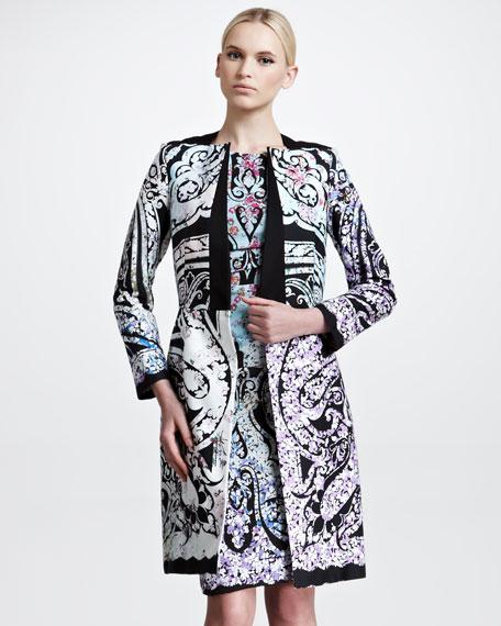 Botanical Paisley Print Cotton-Blend Coat, Black
