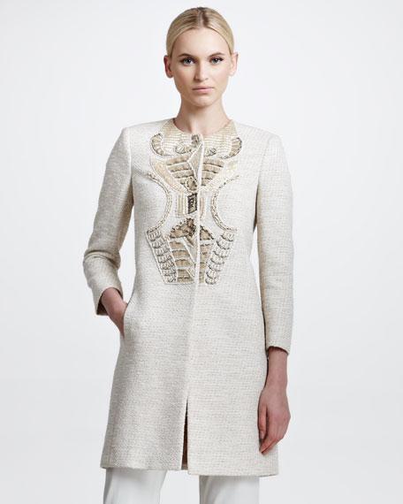 Embroidered Tweed Coat, Beige