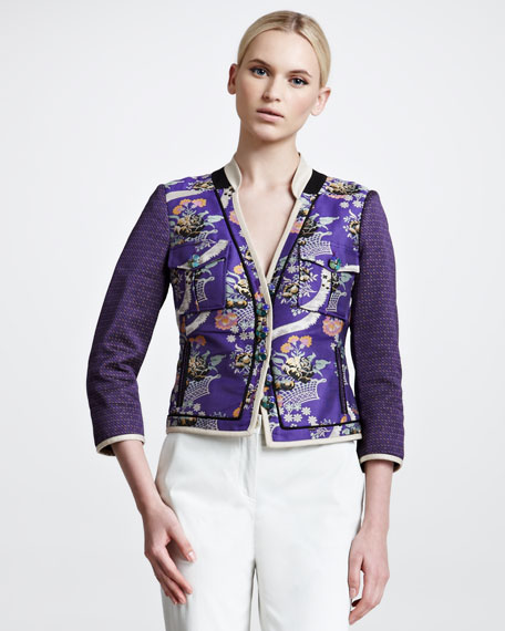 Mandarin Jacquard Jacket, Purple