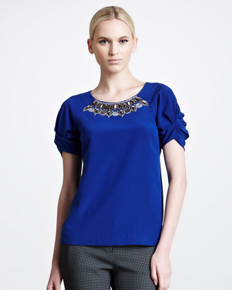 Embroidered Silk Crepe de Chine Blouse, Blue