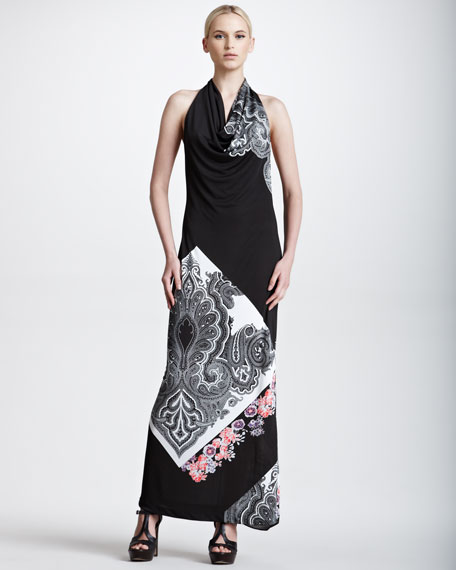 Paisley-Print Halter Maxi Dress, Black