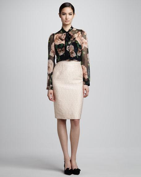 Jacquard Pencil Skirt, Powder Pink
