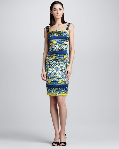 Lemon and Tile-Print Tank Dress
