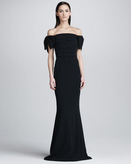 Dropped-Sleeve Fit-and-Flare Gown