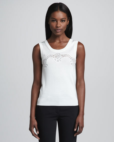 Lace-Panel Silk Tank, White