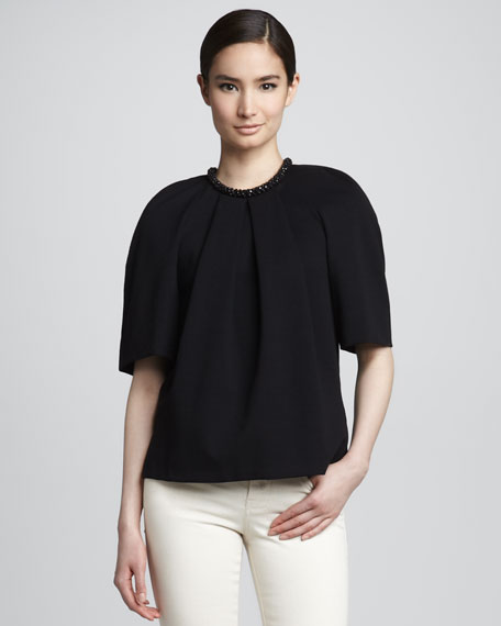 Beaded Compact Jersey Blouse, Black