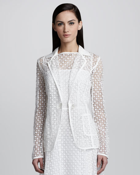 Geometric Lace One-Button Jacket, White