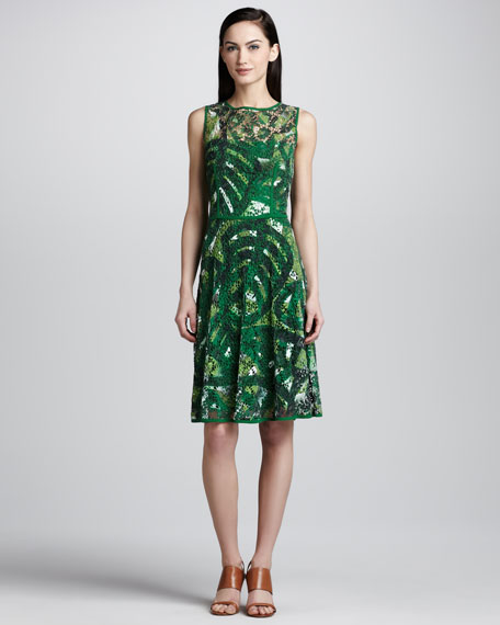 Palm-Print Lace Dress, Green