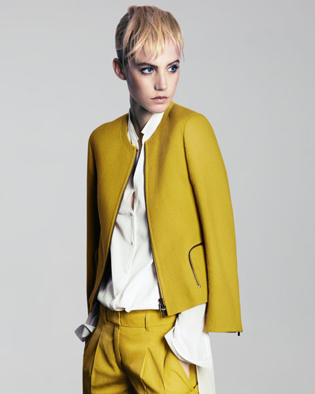 Round-Neck Tweed Jacket, Citron