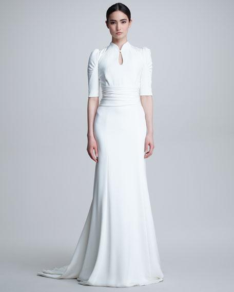 Elbow-Sleeve Keyhole Silk Gown, Ivory