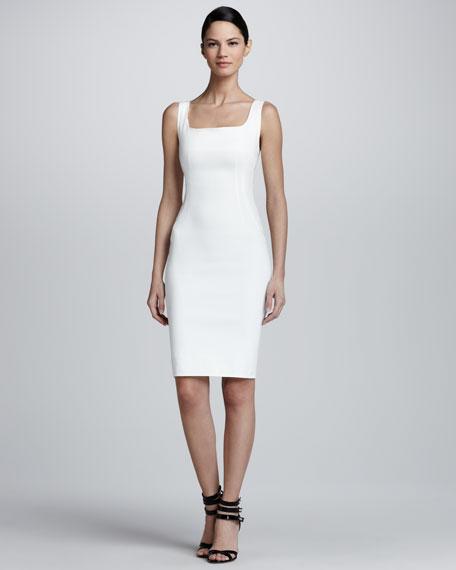 Sleeveless Square-Neck Sheath Dress