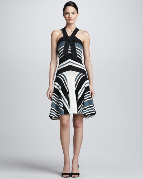 Striped Grosgrain Halter Dress, Black/White