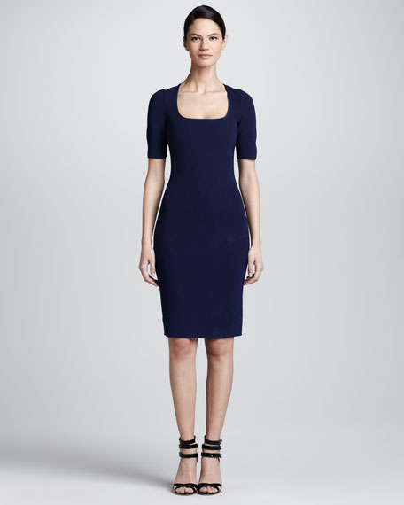 Square-Neck Elbow-Sleeve Dress, Royal