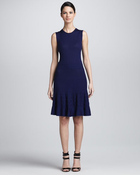 Fluted Ribbed Wool Knit Dress, Royal Navy