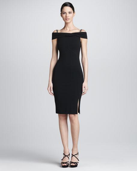 Beaded Strap Off-the-Shoulder Dress, Black