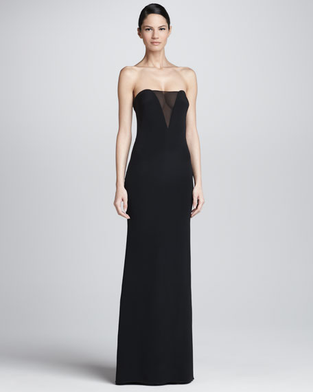 Strapless Sheer-Inset Gown, Black