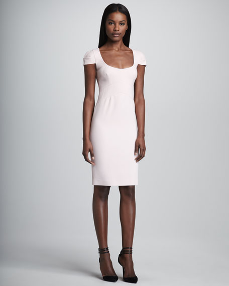 Scoop-Neck Cap-Sleeve Crepe Dress, Light Pink