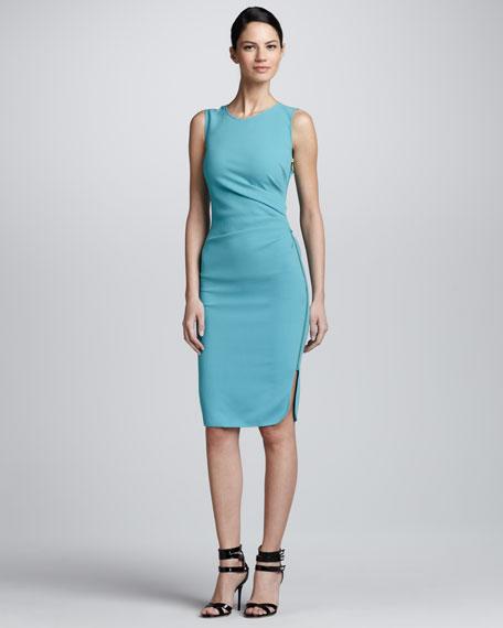Ruched Side Zip Crepe Dress, Aqua