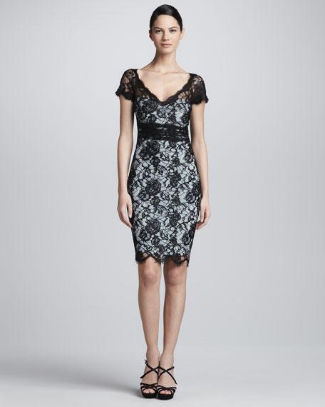 Short-Sleeve Lace Dress, Black/Light Blue
