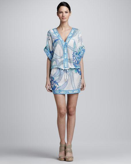 Printed Voile Drawstring Dress, Blue/White