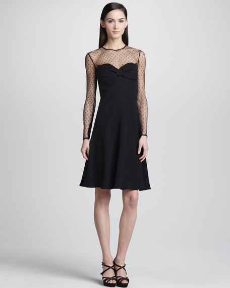 Point d'Esprit Yoke Dress, Black